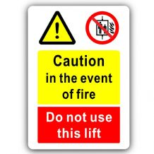 Caution in the Event of Fire, Do Not use this Lift-Aluminium Metal Sign-150mmx100mm-Notice,Safety